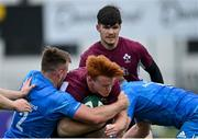 28 May 2021; Shane Jennings of Ireland U20 is tackled by David Hawkshaw, left, and Martin Moloney of Leinster A during the match between Ireland U20 and Leinster A at Energia Park in Dublin. Photo by Ramsey Cardy/Sportsfile