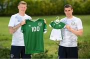31 May 2021; Republic of Ireland Men's Senior Team captain Seamus Coleman, right, and senior international James McClean were on hand at the team's training camp in Spain to launch the Babies In Green initiative which will kick-off a year-long programme of events and festivities to honour the birth of the Association in Molesworth Hall on Molesworth Street in Dublin 100 years ago. The Football Association of Ireland will present every child born in Ireland on the launch date of our Centenary celebrations, June 1st 2021, with a commemorative birthday Ireland kit in honour of the occasion. Photo by Stephen McCarthy/Sportsfile