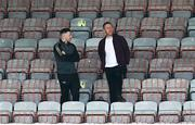 29 May 2021; Bohemians performance coach Philip McMahon, left, and Bohemians COO Daniel Lambert during the SSE Airtricity League Premier Division match between Bohemians and Waterford at Dalymount Park in Dublin. Photo by Ramsey Cardy/Sportsfile