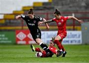 29 May 2021; Ciara Rossiter of Wexford Youths is tackled by Jamie Finn and Pearl Slattery, right, of Shelbourne during the SSE Airtricity Women's National League match between Shelbourne and Wexford Youths at Tolka Park in Dublin. Photo by Piaras Ó Mídheach/Sportsfile