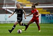 29 May 2021; Aoibheann Clancy of Wexford Youths in action against Jamie Finn of Shelbourne during the SSE Airtricity Women's National League match between Shelbourne and Wexford Youths at Tolka Park in Dublin. Photo by Piaras Ó Mídheach/Sportsfile