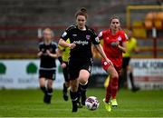 29 May 2021; Ciara Rossiter of Wexford Youths gets past Jamie Finn of Shelbourne during the SSE Airtricity Women's National League match between Shelbourne and Wexford Youths at Tolka Park in Dublin. Photo by Piaras Ó Mídheach/Sportsfile