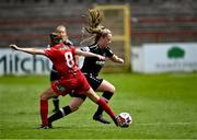 29 May 2021; Lauren Kelly of Wexford Youths is tackled by Rachel Graham of Shelbourne during the SSE Airtricity Women's National League match between Shelbourne and Wexford Youths at Tolka Park in Dublin. Photo by Piaras Ó Mídheach/Sportsfile