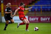 29 May 2021; Emily Whelan of Shelbourne in action against Nicola Sinnott of Wexford Youths during the SSE Airtricity Women's National League match between Shelbourne and Wexford Youths at Tolka Park in Dublin. Photo by Piaras Ó Mídheach/Sportsfile