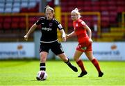 29 May 2021; Edel Kennedy of Wexford Youths in action against Saoirse Noonan of Shelbourne during the SSE Airtricity Women's National League match between Shelbourne and Wexford Youths at Tolka Park in Dublin. Photo by Piaras Ó Mídheach/Sportsfile