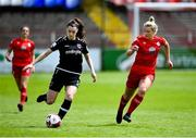 29 May 2021; Lauren Dwyer of Wexford Youths in action against Saoirse Noonan of Shelbourne during the SSE Airtricity Women's National League match between Shelbourne and Wexford Youths at Tolka Park in Dublin. Photo by Piaras Ó Mídheach/Sportsfile