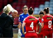 29 May 2021; Shelbourne manager Noel King speaks to his players before the SSE Airtricity Women's National League match between Shelbourne and Wexford Youths at Tolka Park in Dublin. Photo by Piaras Ó Mídheach/Sportsfile