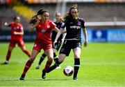 29 May 2021; Lauren Dwyer of Wexford Youths in action against Jessica Ziu of Shelbourne during the SSE Airtricity Women's National League match between Shelbourne and Wexford Youths at Tolka Park in Dublin. Photo by Piaras Ó Mídheach/Sportsfile