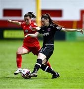 29 May 2021; Lauren Dwyer of Wexford Youths in action against Emily Whelan of Shelbourne during the SSE Airtricity Women's National League match between Shelbourne and Wexford Youths at Tolka Park in Dublin. Photo by Piaras Ó Mídheach/Sportsfile