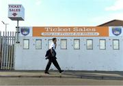 29 May 2021; A man walks past a closed ticket booth before the Allianz Football League Division 1 North Round 3 match between Armagh and Donegal at the Athletic Grounds in Armagh. Photo by Piaras Ó Mídheach/Sportsfile