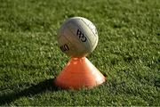 29 May 2021; A general view of a football on the pitch during the Armagh warm-up before the Allianz Football League Division 1 North Round 3 match between Armagh and Donegal at the Athletic Grounds in Armagh. Photo by Piaras Ó Mídheach/Sportsfile
