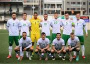 3 June 2021; The Republic of Ireland team, back row, from left, Matt Doherty, James Collins, Gavin Bazunu, Troy Parrott, Dara O'Shea, John Egan and Ronan Curtis. Front row, from left, Conor Hourihane, Jason Knight, Josh Cullen and James McClean before the International friendly match between Andorra and Republic of Ireland at Estadi Nacional in Andorra. Photo by Stephen McCarthy/Sportsfile