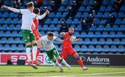 3 June 2021; James Collins of Republic of Ireland heads a shot at goal during the International friendly match between Andorra and Republic of Ireland at Estadi Nacional in Andorra. Photo by Stephen McCarthy/Sportsfile