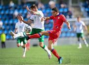 3 June 2021; Max Llovera of Andorra in action against James Collins of Republic of Ireland during the International friendly match between Andorra and Republic of Ireland at Estadi Nacional in Andorra. Photo by Stephen McCarthy/Sportsfile