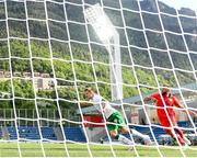 3 June 2021; James Collins of Republic of Ireland heads a shot on goal wide during the International friendly match between Andorra and Republic of Ireland at Estadi Nacional in Andorra. Photo by Stephen McCarthy/Sportsfile