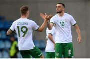 3 June 2021; Troy Parrott of Republic of Ireland, right, celebrates with team-mate James Collins after scoring their side's first goal during the International friendly match between Andorra and Republic of Ireland at Estadi Nacional in Andorra. Photo by Stephen McCarthy/Sportsfile