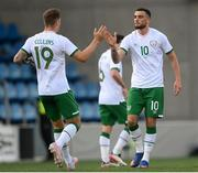 3 June 2021; Troy Parrott of Republic of Ireland, right celebrates with team-mate James Collins after scoring his side's first goal during the International friendly match between Andorra and Republic of Ireland at Estadi Nacional in Andorra. Photo by Stephen McCarthy/Sportsfile