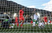3 June 2021; James Collins of Republic of Ireland follows up on his side's second goal, scored by Troy Parrott, not pictured, during the International friendly match between Andorra and Republic of Ireland at Estadi Nacional in Andorra. Photo by Stephen McCarthy/Sportsfile