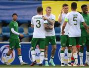 3 June 2021; James McClean, centre, and Ryan Manning of Republic of Ireland embrace after the International friendly match between Andorra and Republic of Ireland at Estadi Nacional in Andorra. Photo by Stephen McCarthy/Sportsfile