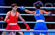 4 June 2021; Aidan Walsh of Ireland, left, and Wahid Hambli of France in their welterweight 69kg round of 16 bout on day one of the Road to Tokyo European Boxing Olympic qualifying event at Le Grand Dome in Paris, France. Photo by Baptiste Fernandez/Sportsfile