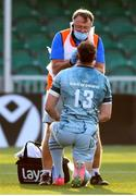 04 June 2021; Garry Ringrose of Leinster receives treatment from team doctor Prof John Ryan during the Guinness PRO14 Rainbow Cup match between Glasgow Warriors and Leinster at Scotstoun Stadium in Glasgow, Scotland. Photo by Ross MacDonald/Sportsfile
