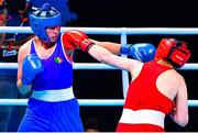 4 June 2021; Aoife O'Rourke of Ireland, left, and Viktoryia Kebikava of Belarus in their middleweight 75kg round of 16 bout on day one of the Road to Tokyo European Boxing Olympic qualifying event at Le Grand Dome in Paris, France. Photo by Baptiste Fernandez/Sportsfile