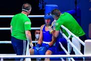 4 June 2021; Aoife O'Rourke of Ireland during her middleweight 75kg round of 16 bout on day one of the Road to Tokyo European Boxing Olympic qualifying event at Le Grand Dome in Paris, France. Photo by Baptiste Fernandez/Sportsfile