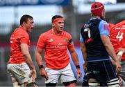 28 May 2021; CJ Stander of Munster, right, and team-mate Tommy O'Donnell during the Guinness PRO14 Rainbow Cup match between Munster and Cardiff Blues at Thomond Park in Limerick. Photo by Piaras Ó Mídheach/Sportsfile