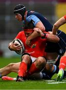 28 May 2021; CJ Stander of Munster is tackled by Olly Robinson of Cardiff Blues during the Guinness PRO14 Rainbow Cup match between Munster and Cardiff Blues at Thomond Park in Limerick. Photo by Piaras Ó Mídheach/Sportsfile
