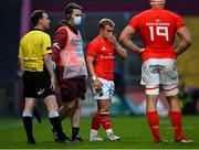28 May 2021; Craig Casey of Munster leaves the field to receive medical attention for an injury during the Guinness PRO14 Rainbow Cup match between Munster and Cardiff Blues at Thomond Park in Limerick. Photo by Piaras Ó Mídheach/Sportsfile
