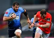 28 May 2021; Josh Turnbull of Cardiff Blues in action against Stephen Archer of Munster during the Guinness PRO14 Rainbow Cup match between Munster and Cardiff Blues at Thomond Park in Limerick. Photo by Piaras Ó Mídheach/Sportsfile