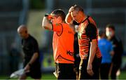 29 May 2021; Armagh manager Kieran McGeeney, left, and Armagh coach Kieran Donaghy after the drawn Allianz Football League Division 1 North Round 3 match between Armagh and Donegal at the Athletic Grounds in Armagh. Photo by Piaras Ó Mídheach/Sportsfile