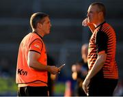 29 May 2021; Armagh manager Kieran McGeeney, left, and Armagh coach Kieran Donaghy during the Allianz Football League Division 1 North Round 3 match between Armagh and Donegal at the Athletic Grounds in Armagh. Photo by Piaras Ó Mídheach/Sportsfile
