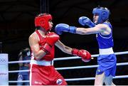 4 June 2021; Michaela Walsh of Ireland, right, and Mona Mestiaen of France during their featherweight 57kg bout on day one of the Road to Tokyo European Boxing Olympic qualifying event at Le Grand Dome in Paris, France. Photo by Sportsfile