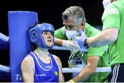 4 June 2021; Kellie Harrington of Ireland with her coach John Conlan during her lightweight 60kg bout against Aneta Rygielska of Poland in theiron day one of the Road to Tokyo European Boxing Olympic qualifying event at Le Grand Dome in Paris, France. Photo by Sportsfile