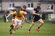 5 June 2021; Ciaran Clarke of Antrim in action against Diarmuid O'Keeffe of Wexford during the Allianz Hurling League Division 1 Group B Round 4 match between Antrim and Wexford at Corrigan Park in Belfast. Photo by David Fitzgerald/Sportsfile