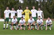 5 June 2021; The Republic of Ireland team, back row, from left, Oisin McEntee, Alex Gilbert, Joshua Kayode, Dan Rose, Mark McGuinness and Conor Coventry, with, front row, Tyreik Wright, Will Ferry, Ryan Johansson, Conor Noss and Andy Lyons before the U21 international friendly match between Republic of Ireland and Denmark at Dama de Noche Football Centre in Marbella, Spain. Photo by Mateo Villalba Sanchez/Sportsfile