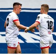 5 June 2021; James Hume, left, of Ulster celebrates with team-mate Ian Madigan after scoring a try during the Guinness PRO14 Rainbow Cup match between Edinburgh and Ulster at BT Murrayfield Stadium in Edinburgh, Scotland. Photo by Paul Devlin/Sportsfile