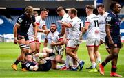 5 June 2021;Adam McBurney of Ulster celebrates his first half try during the Guinness PRO14 Rainbow Cup match between Edinburgh and Ulster at BT Murrayfield Stadium in Edinburgh, Scotland. Photo by Paul Devlin/Sportsfile