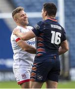 5 June 2021; Ian Madigan of Ulster is congratulated by Mike Willemse of Edinburgh after the Guinness PRO14 Rainbow Cup match between Edinburgh and Ulster at BT Murrayfield Stadium in Edinburgh, Scotland. Photo by Paul Devlin/Sportsfile