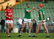 5 June 2021; Seam Twomey of Cork with Diarmaid Byrnes, 5, and Barry Nash of Limerick after the Allianz Hurling League Division 1 Group A Round 4 match between Limerick and Cork at LIT Gaelic Grounds in Limerick. Photo by Ray McManus/Sportsfile
