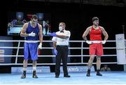 5 June 2021; Petar Belberov of Bulgaria, left, is declared the winner over Gytis Lisinskas of Ireland after their super-heavyweight +91kg round of 16 bout on day two of the Road to Tokyo European Boxing Olympic qualifying event at Le Grand Dome in Paris, France. Photo by Sportsfile
