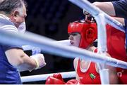 5 June 2021; Aoife O'Rourke of Ireland with coach Zaur Antia during her middleweight 75kg quarter-final bout with Elzbieta Wójcik of Poland on day two of the Road to Tokyo European Boxing Olympic qualifying event at Le Grand Dome in Paris, France. Photo by Sportsfile