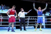 5 June 2021; Luka Plantic of Croatia, right, is declared the winner over Emmet Brennan of Ireland after their light heavyweight 81kg quarter-final bout on day two of the Road to Tokyo European Boxing Olympic qualifying event at Le Grand Dome in Paris, France. Photo by Sportsfile