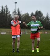 10 June 2021; Neil McManus, left, and Darren McGovern at the GAA for Dads & Lads Launch at St. Patricks GFC in Donagh, Fermanagh. Photo by David Fitzgerald/Sportsfile