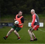 10 June 2021; Seamus Sweeney in action against Ciaran McMahon at the GAA for Dads & Lads Launch at St. Patricks GFC in Donagh, Fermanagh. Photo by David Fitzgerald/Sportsfile