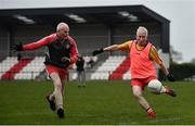 10 June 2021; Paulinus Curran in action against Ciaran McMahon at the GAA for Dads & Lads Launch at St. Patricks GFC in Donagh, Fermanagh. Photo by David Fitzgerald/Sportsfile