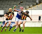 6 June 2021; Ciaran Collier of Laois in action against Darragh Corcoran of Kilkenny during the Allianz Hurling League Division 1 Group B Round 4 match between Kilkenny and Laois at UPMC Nowlan Park in Kilkenny. Photo by Eóin Noonan/Sportsfile