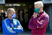 6 June 2021; Waterford manager Liam Cahill, left, in conversation with Galway manager Shane O'Neill prior to the Allianz Hurling League Division 1 Group A Round 4 match between Galway and Waterford at Pearse Stadium in Galway. Photo by Ramsey Cardy/Sportsfile