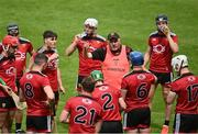 6 June 2021; Down manager Ronan Sheehan talks to his players at a drinks break during the Allianz Hurling League Division 2A Round 4 match between Offaly and Down at Bord na Móna O'Connor Park in Tullamore, Offaly. Photo by Sam Barnes/Sportsfile